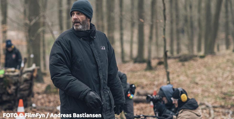 Anders Thomas Jensen under indspilningerne til filmen Retfærdighedens Ryttere i Faaborg-Midtfyn Kommune